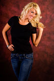 Casual Blonde Woman Fashion Model Stock Photos