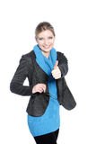Casual Blonde Woman Giving the Thumbs Up Sign Royalty Free Stock Image