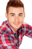 Casual boy with plaid shirt Royalty Free Stock Photo