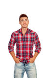 Casual boy with plaid shirt looking up Royalty Free Stock Photography