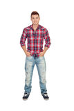 Casual boy with plaid shirt Stock Images