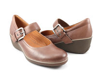 Casual brown leather lady shoes Royalty Free Stock Photography
