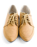 Casual brown leather lady shoes Stock Photos