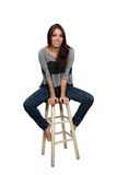 Casual Brunette on a Barstool (1) Stock Photography
