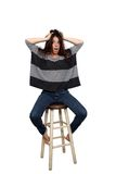 Casual Brunette on a Barstool (4) Stock Image