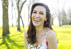 Casual brunette outdoors Royalty Free Stock Photos