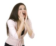 Casual brunette shouting Royalty Free Stock Image