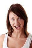 Casual brunette woman suprised Royalty Free Stock Photography
