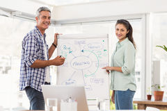 Casual business colleagues preparing presentation Royalty Free Stock Images