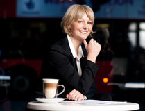 Casual business lady posing in style, outdoors Royalty Free Stock Photography
