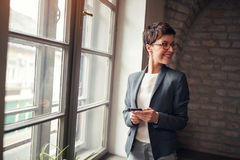 Casual business-leader woman. Casual business-smiling leader woman Royalty Free Stock Photos