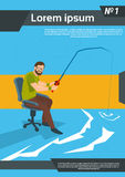 Casual Business Man Fishing Sit Office Chair Stock Image