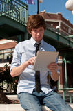 Casual Business Man on Smart Tablet Royalty Free Stock Photos