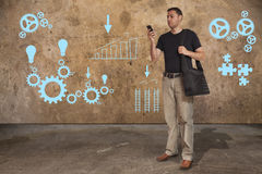 Casual business man. Talking on a smart phone Royalty Free Stock Photo