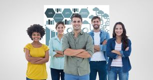 Casual business people with arms crossed against graphics. Digital composite of Casual business people with arms crossed against graphics Royalty Free Stock Photography