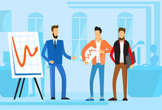 Casual Business People Group Presentation Flip Chart Finance, Businesspeople Team Training Conference Meeting. Flat Vector Illustration Royalty Free Stock Photo