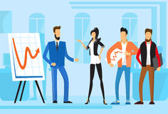 Casual Business People Group Presentation Flip Chart Finance, Businesspeople Team Training Conference Meeting. Flat Vector Illustration Stock Image
