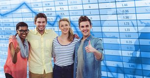Free Casual Business People Showing Thumbs Up Against Data Royalty Free Stock Images - 92882219