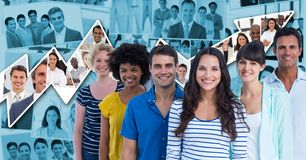 Casual business people smiling against graph. Digital composite of Casual business people smiling against graph Stock Image
