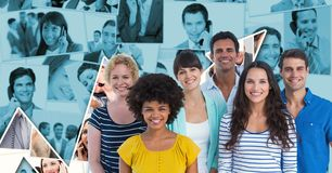 Casual business people smiling against graph. Digital composite of Casual business people smiling against graph Royalty Free Stock Photos