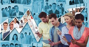 Casual business people using technologies against graph. Digital composite of Casual business people using technologies against graph Stock Photos