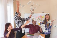 Casual Business team throwing money for success royalty free stock photography