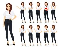 Free Casual Business Woman Character Set Royalty Free Stock Photography - 157743647