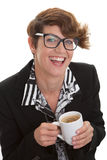 Casual business woman with coffee. Royalty Free Stock Photography