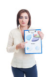 Casual business woman showing clipboard with financial and sales Stock Images