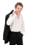 Casual Businessman. A young businessman standing casually in his office Stock Photography
