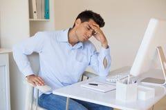 Casual businessman getting a headache stock photos
