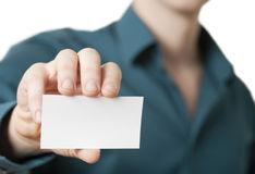 Casual businessman presenting businesscard stock photo
