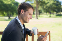Casual businessman texting on phone on park bench Royalty Free Stock Image