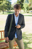 Casual businessman texting on smartphone in park Stock Images