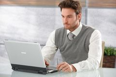Casual businessman working on laptop. In office, looking at screen Royalty Free Stock Images