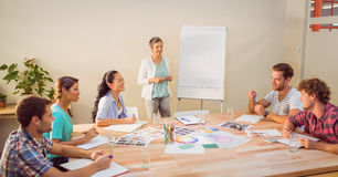 Casual businesswoman giving presentation to her colleagues Royalty Free Stock Photo