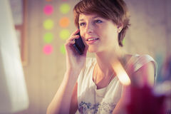 Casual businesswoman having a phone call Stock Images