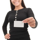 Casual businesswoman showing blank business card Royalty Free Stock Photography