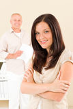 Casual businesswoman smiling crossed arms Royalty Free Stock Photo