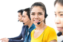 Casual call center team. Smiling women in casual clothes working in call center stock photos