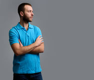 Casual caucasian bearded guy looking away Royalty Free Stock Photo