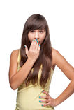 Casual cheerful girl yawning Stock Image