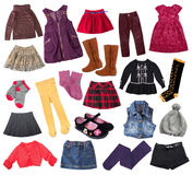 Casual child girl clothes collage.Kid's apparel collage. Casual child girl clothes set isolated on white. Kid's fashion clothing collage.Different mixed apparel Stock Images