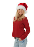 Casual Christmas girl smiling Royalty Free Stock Photos