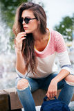 Casual city girl Stock Photography