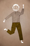 Casual clothes with hand drawn funny character Royalty Free Stock Photo