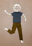 Casual clothes with hand drawn funny character Stock Photography