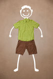 Casual clothes with hand drawn funny character Royalty Free Stock Photos