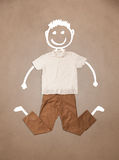 Casual clothes with hand drawn funny character Stock Image