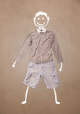 Casual clothes with hand drawn funny character Royalty Free Stock Photography